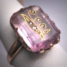 Rare Antique Rose de France Amethyst Rose Cut Diamond Ring Floral Victorian 19th Century Wedding