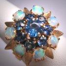 Antique Australian Opal Sapphire Ring Wedding Retro Art Deco 14K Yellow Gold 1950