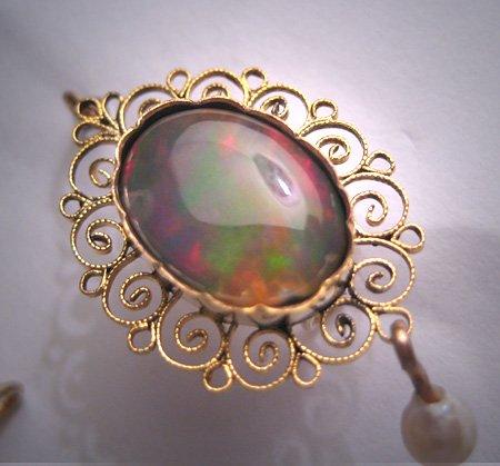 Rare Antique Opal Earrings Victoiran Edwardian 12CT Gold Filigree 1920