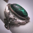 Rare Antique Art Nouveau Turquoise Ring Vintage Ornate Silver Victorian Wedding 1890