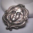 RARE Antique Art Nouveau Silver Pin Woman's Face Original 1890s