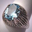Antique Blue Topaz Ring Vintage Retro Modernist Mid Century Modern Silver Wedding 50s