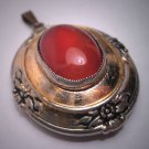Antique Carnelian Gold Gilt Locket Pendant for Necklace Vintage Victorian Revival