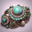 Antique Austro Hungarian Turquoise Seed Pearl Brooch Pin Silver Victorian Edwardian c.1890