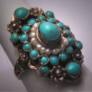 Antique Austro Hungarian Turquoise Pearl Ring Silver Victorian Edwardian c.1890 Renaissance Wedding