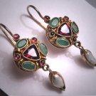 Vintage Emerald Garnet Pearl Earrings Victorian Georgian Revival Gold
