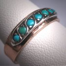 Antique Persian Turquoise Ring Band Georgian Victorian Silver Topped Rose Gold Wedding Band 1800s