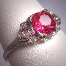 Antique Ruby Diamond Wedding Ring Vintage Art Deco Platinum 1930s
