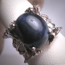 Vintage Blue Star Sapphire Ring 8ct Wedding Band Retro Art Deco Gemstones 1950