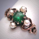 Antique Victorian Emerald Seed Pearl Ring Vintage 19th Century Rose Gold