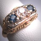 Antique Sapphire Euro Cut Diamond Wedding Ring Band Vintage Art Deco c.1910