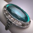 Antique Emerald French Paste Ring Art Deco Retro 1920