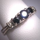 Vintage Diamond Sapphire Wedding Band Ring White Gold Three Stone