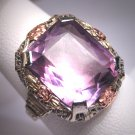 Rare Antique Amethyst Ring Victorian Art Deco Wedding White Green Rose Gold 14K c.1920