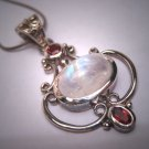 Vintage Moonstone Garnet Pendant Necklace Victorian Lavaliere