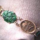 Antique Fine Jewelry Carved Jade Link Bracelet Silver Jadeite Vintage 1930s