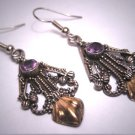 Vintage Amethyst Earrings Victorian Georgian Revival Etruscan Silver