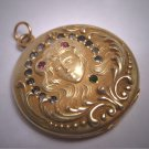Rare Antique Art Nouveau Gold Locket Victorian Woman Dream Ornate Ruby Emerald c.1890