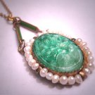 Antique Jade Seed Pearl Enamel Lavaliere Pendant Necklace Victorian Chain 1920