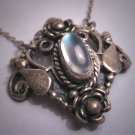 Antique Vintage Victorian Moonstone Necklace Estate Lavaliere Pendant Sterling Silver 1920
