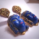 Incredible Rare Antique Vintage Egyptian Revival Earrings Lapis Czech Glass Drop 1920's Art Deco