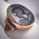 Antique Georgian Victorian Onyx Intaglio Roman Soldier Cameo Ring Gold 19th Century Neo Classic