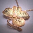 Antique River Pearl Rose Gold Clover Necklace Victorian Art Nouveau c.1890 Good Luck