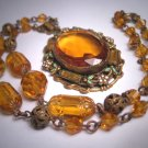 Antique Amber Citrine Enameled Czech Necklace Vintage Victorian Art Deco 1920's