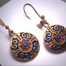 Vintage Georgian Victorian Lapis Enameled Earrings