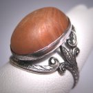 Antique Butterscotch Amber Banded Agate Ring Victorian Art Deco Ornate Silver Setting c.1900