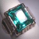 Antique Emerald French Paste Ring Art Deco Retro 1920 Wedding