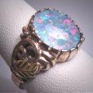 Vintage Australian Opal Ring Wedding Estate Retro Deco Silver and Rose Gold Gem Wedding