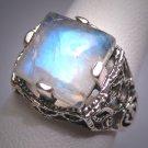 Vintage Victorian Style Moonstone Filigree Ring Edwardian Wedding