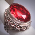 Antique Italian Large Ruby Ring Vintage Art Deco Victorian 1920