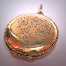 Antique Ornate Gold Locket Victorian Art Deco 20s Pendant Chased  Floral Flowers