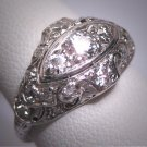 Gorgeous Antique Platinum Diamond Wedding Ring Band Filigree Art Deco 1.08ctw Engagement 1920