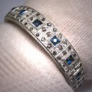 Antique Filigree Bangle Bracelet Art Deco Sapphire French Paste c.1900