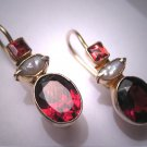 Vintage Garnet Pearl Earrings Victorian Georgian Revival