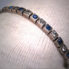 Antique Art Deco Sapphire French Paste Bracelet Vintage Sterling Silver c.1920s