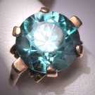 Antique Blue Zircon Wedding Ring Vintage Art Deco Yellow Gold Large 11mm c.1920