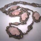 Antique Rose Quartz and Rose Cut Necklace Vintage Art Deco Edwardian circa 1910-1920's