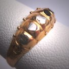 Antique Five Diamond Ring Georgian Victorian Yellow Etruscan Gold Wedding Band c.1700s