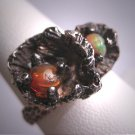 Vintage Fire and Australian Opal Ring Antique Retro Modernist Sterling Silver 50s