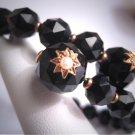 Antique Victorian Black Jet Gold and Seed Pearl Bracelet 1800's Vintage Star Wrap Bracelet