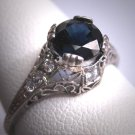 Vintage Platinum Sapphire Wedding Ring Edwardian - Art Deco Filigree c.1900