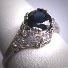 Vintage Platinum Sapphire Wedding Ring Edwardian - Art Deco Filigree c.1900