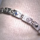 Antique Platinum Sapphire Diamond Bracelet Eternity Engraved Floral 14K Art Deco 1920