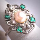 Antique Emerald Pearl Diamond Wedding Ring Platinum Engagement Victorian Edwardian Vintage c.1900