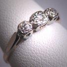Antique Platinum Three Diamond Wedding Ring Band 1920s