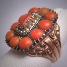 Antique Italian Coral Seed Pearl Ring Georgian Victorian Gold Wedding - 19th Century